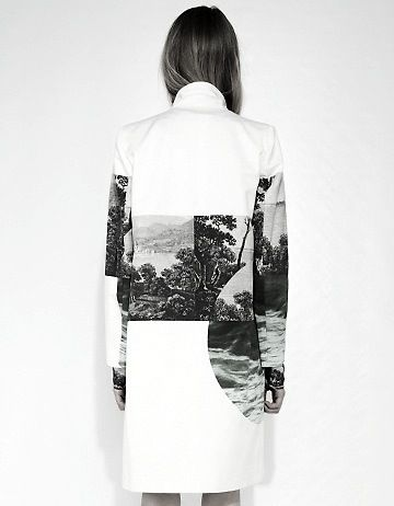 Photographic print jacket with vivid landscape scenes & graphic shapes; high contrast printed fashion // Dries Van Noten