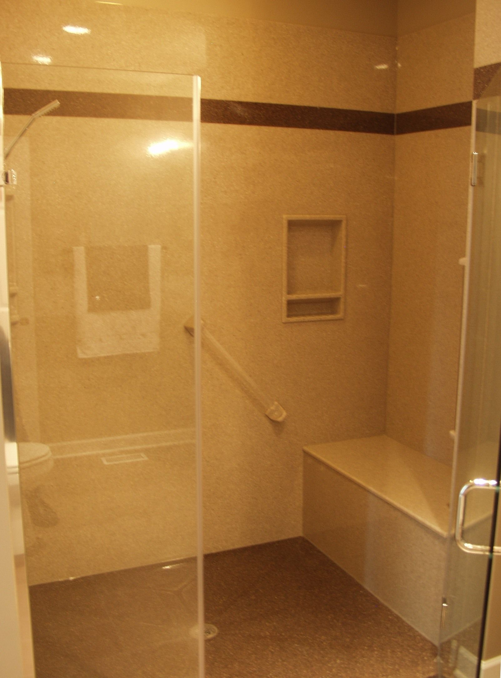 walk in shower with build in bench aging in place pinterest. Black Bedroom Furniture Sets. Home Design Ideas