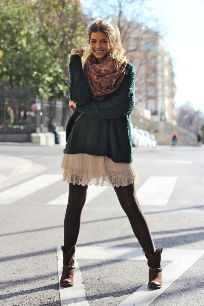 Jewel Tone Sweater Over Lace Skirt And A Patterned Scarf With Boots