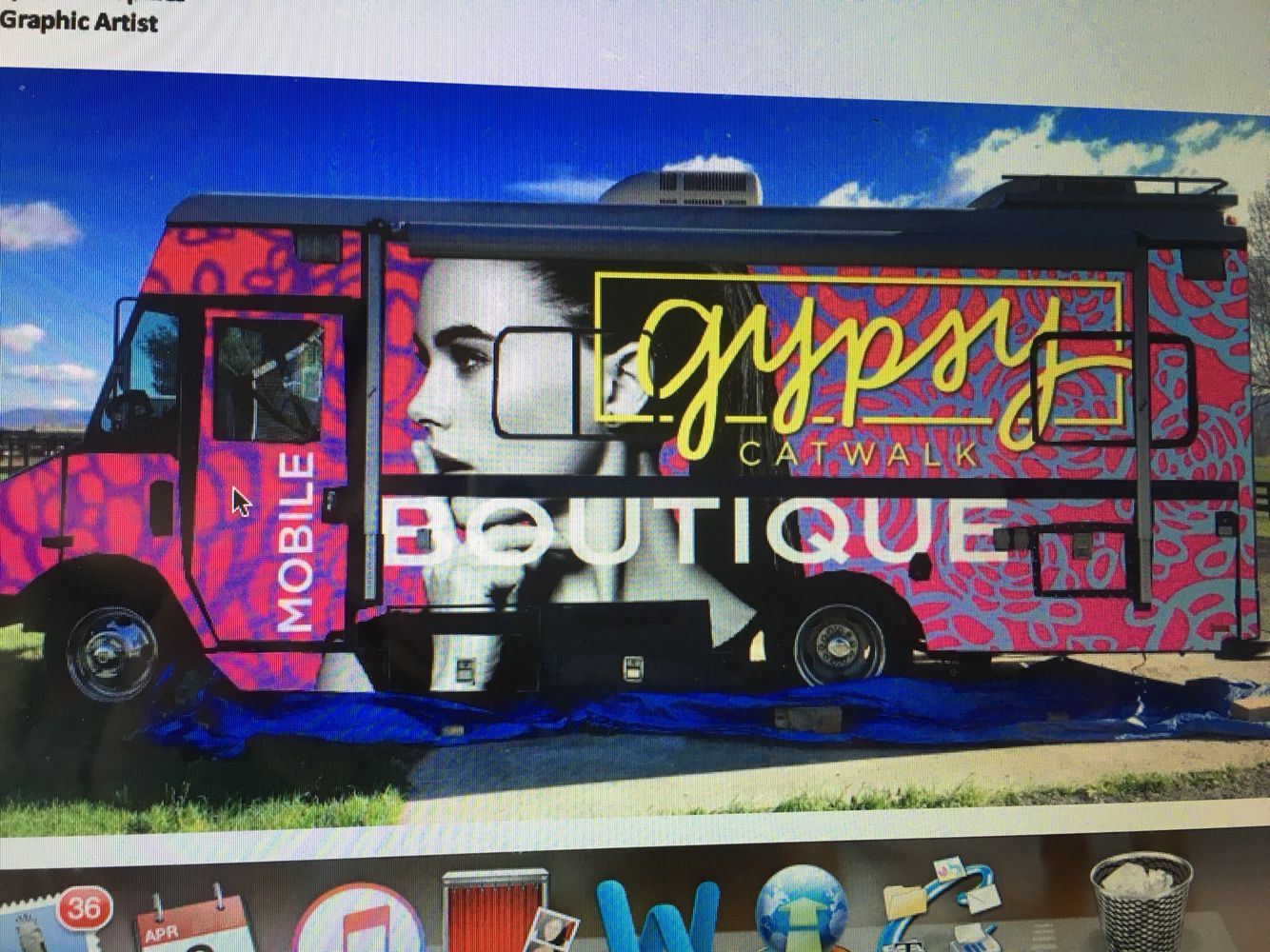 The very first wrap proof from Muddy Feet Graphics in Harrisonburg, VA. It was too posh fir the look I'm trying to achieve but a great start!