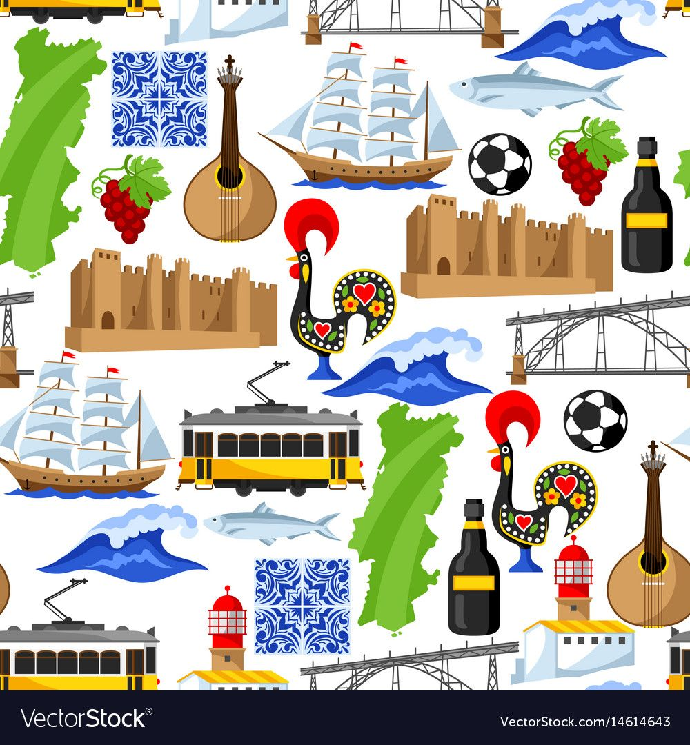 Portugal Seamless Pattern Portuguese National Vector Image On En