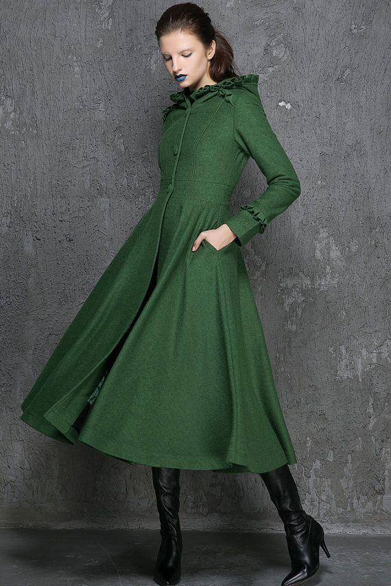 Womens Coats, Winter Coat, Emerald Green coat,fit and flare coat ...