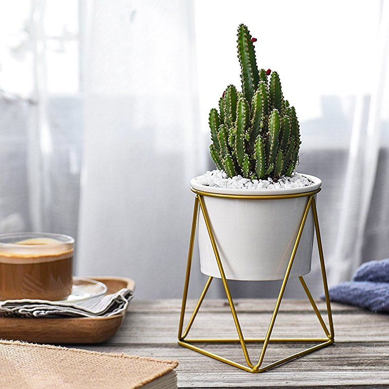 Mkono Ceramic Planter With Metal Stand Tabletop Succulent Pot Modern Plant  Holder   This Ceramic Planter