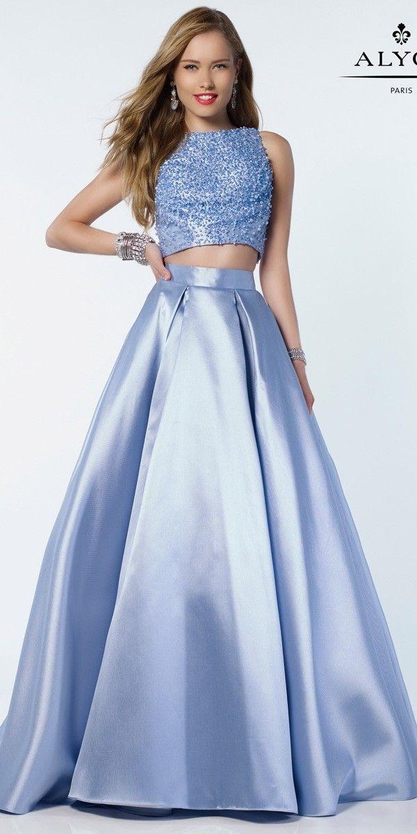 Alyce Two Piece A Line Style Mikado Prom Dress - Alyce Paris - 6789 ...