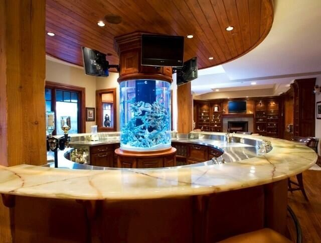 The Aquarium Adds Beauty To This Man Cave Man Caves Home