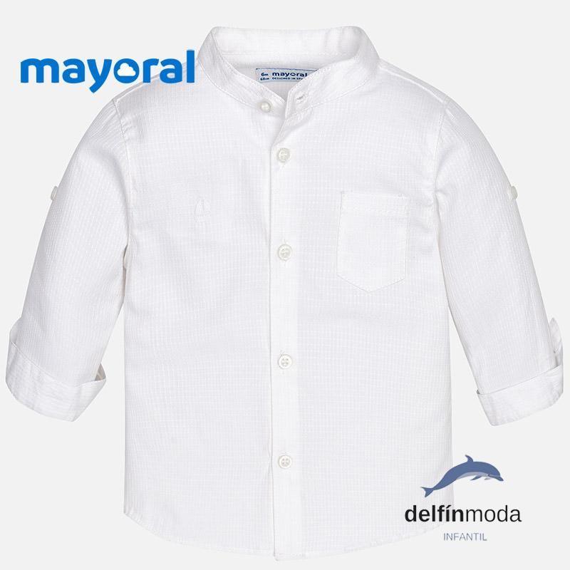 f13de2e5c Camisa de bebe niño MAYORAL manga larga cuello mao blanca