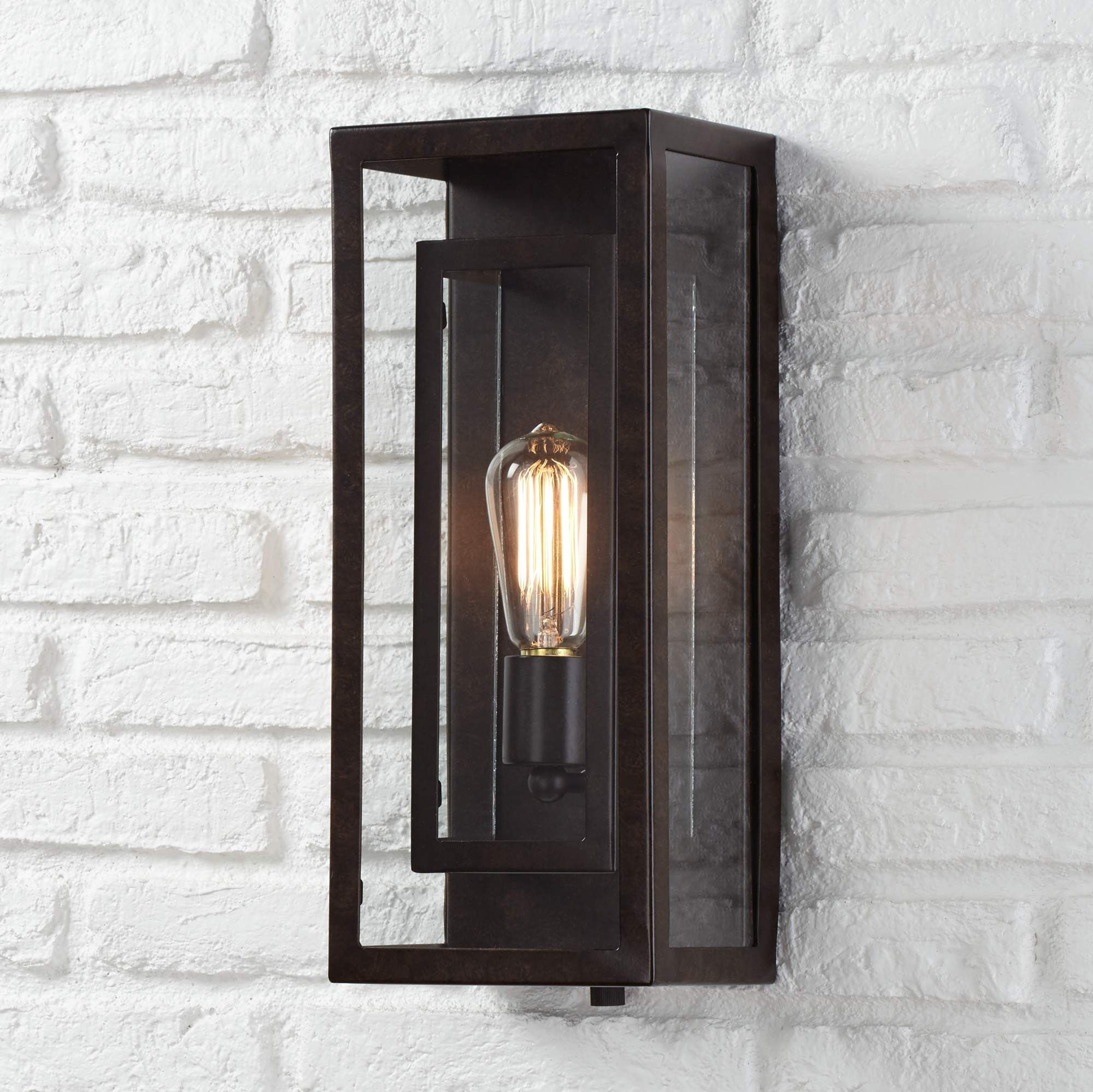 """Double Box 15 1/2"""" High Clear Glass and Bronze Wall Light"""