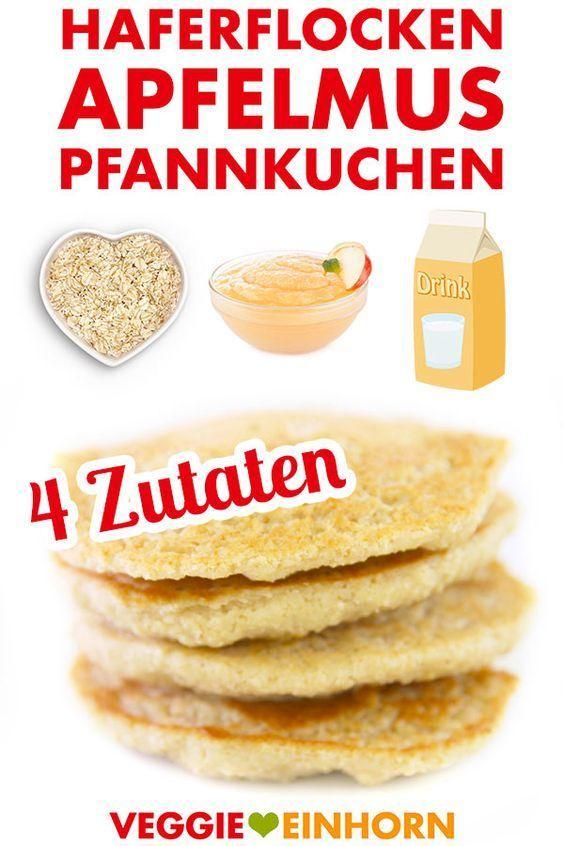 Haferflocken-Apfelmus-Pfannkuchen | vegan Gesunde vegane Pancakes mit Haferflocken und Apfelmus | ohne Banane, ohne Mehl, ohne Zucker, ohne Ei, ohne Milch, ohne Weizen | Veganes Pfannkuchen Rezept deutsch | 4 Zutaten | vegan glutenfrei zuckerfrei | Leckeres gesundes veganes Frühstück | Einfaches Rezept mit VIDEOGesunde v...