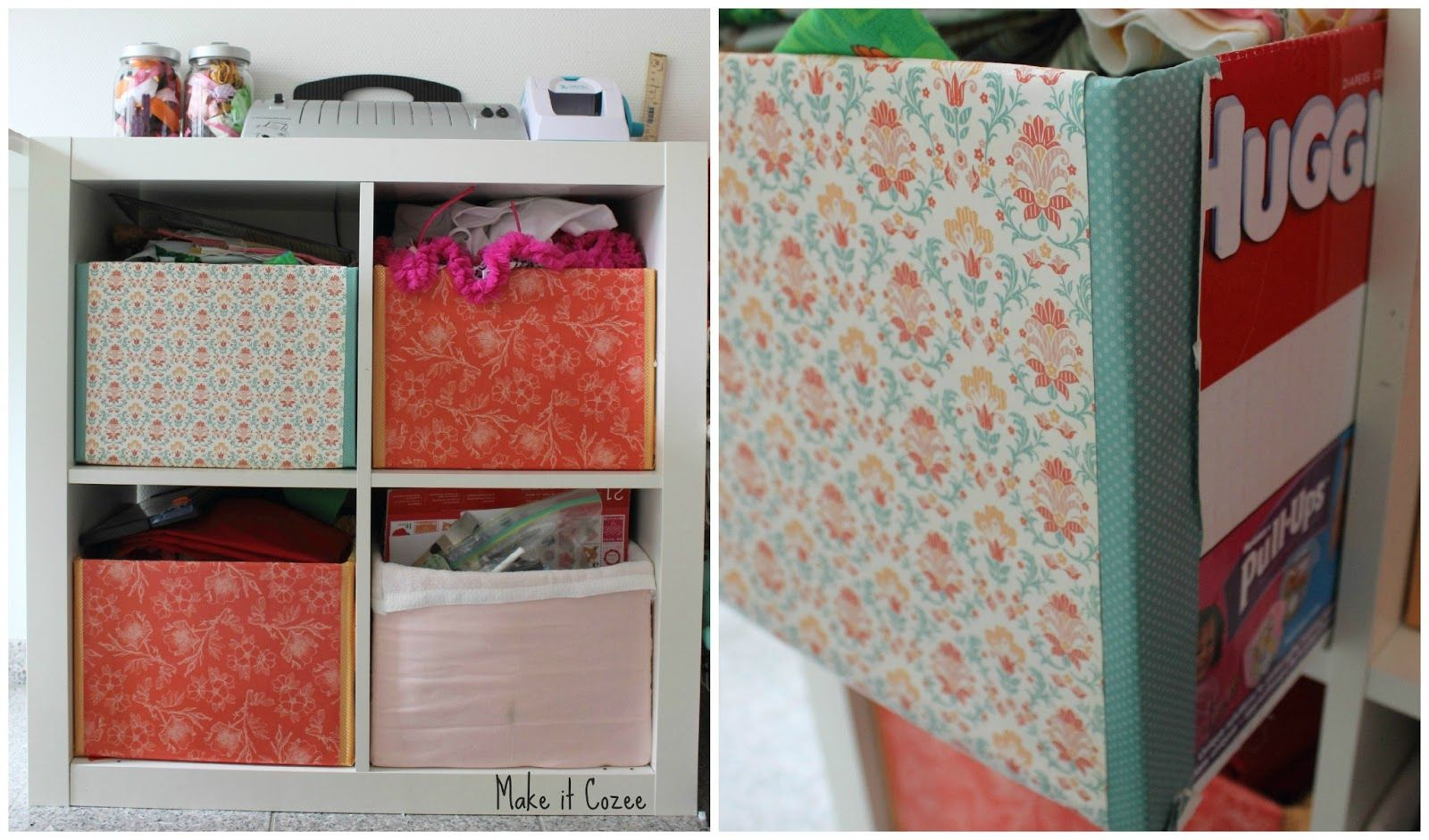 Clever make-do solution: Paper covered diaper boxes in the expedit bookcase! from Make it Cozee