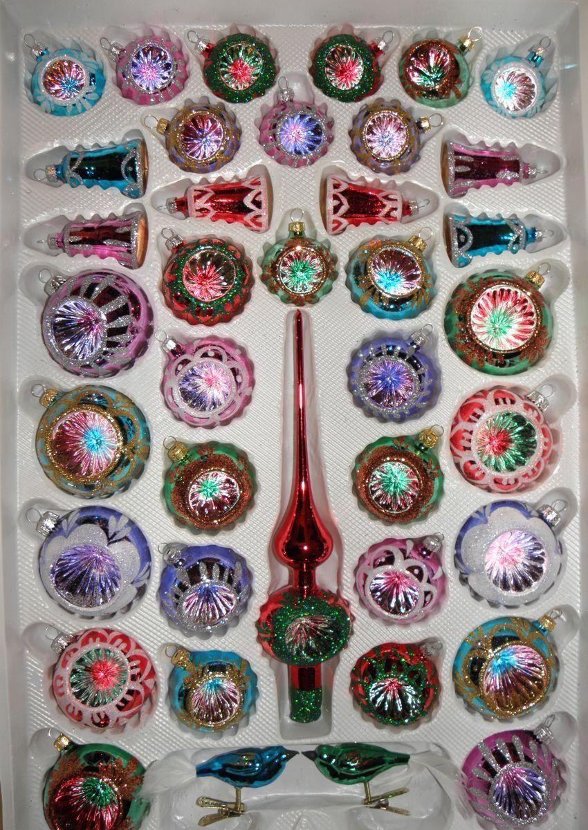39 Tlg Glas Weihnachtskugeln Set In Hochglanz Vintage Style