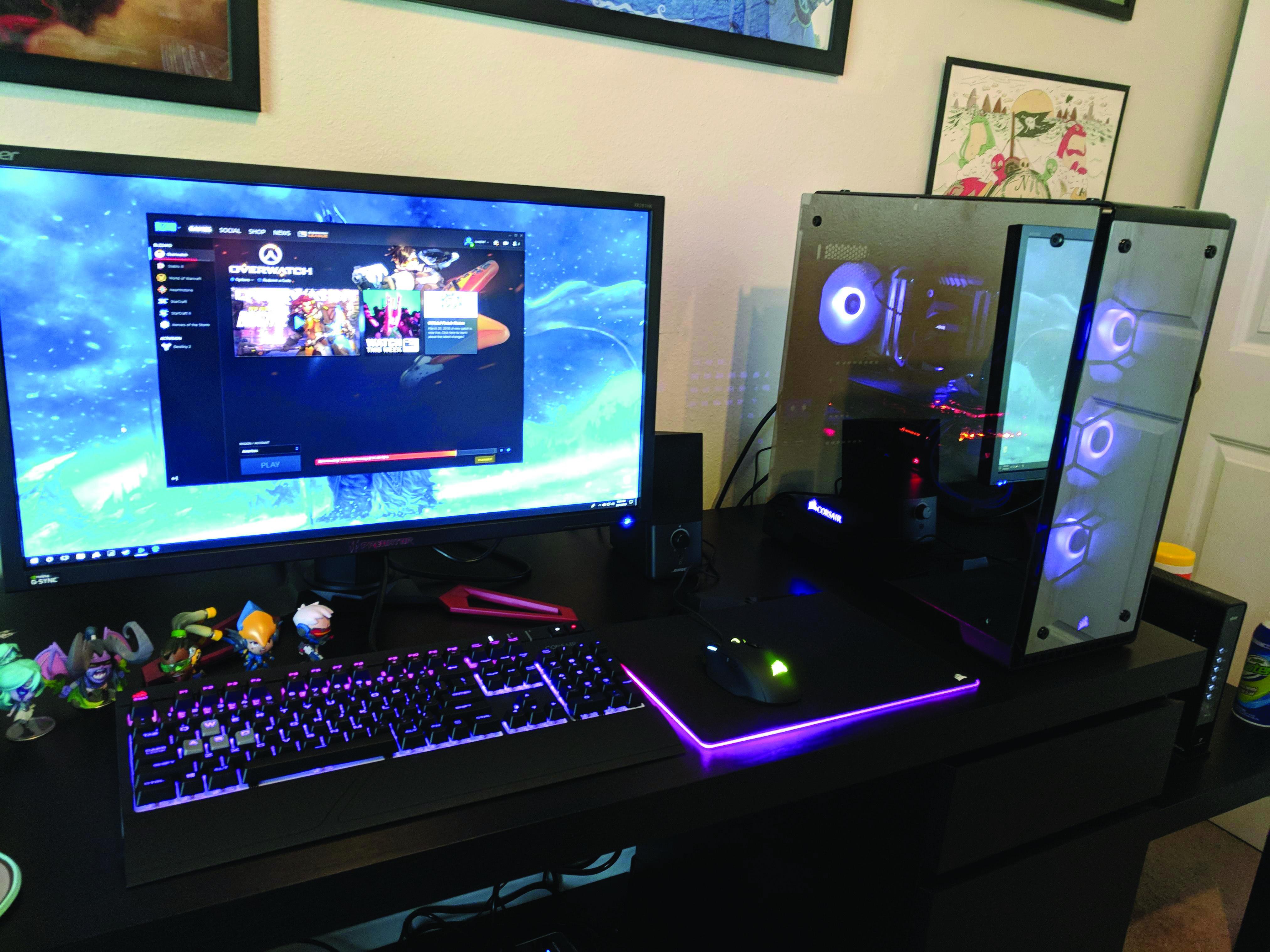 Gaming Computer Desk Instalacao De Jogos Decoracao Quarto Gamer