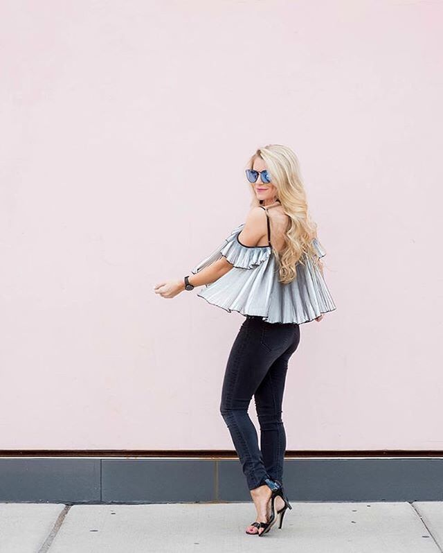 Step up your off-the-shoulder game with @oliviarink's twirl-worthy ombre find | Shop her look with www.LIKEtoKNOW.it | http://liketk.it/2oZwc #liketkit