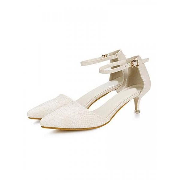 Cream Pin Buckle Strap Textured Heels (£20) ❤ liked on Polyvore