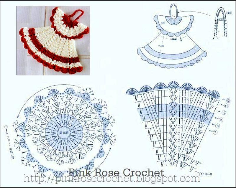 Pega+Panelas+Vestidinho+Croche+Branco+Vermelho+Crochet+Dress+Pot+ ...