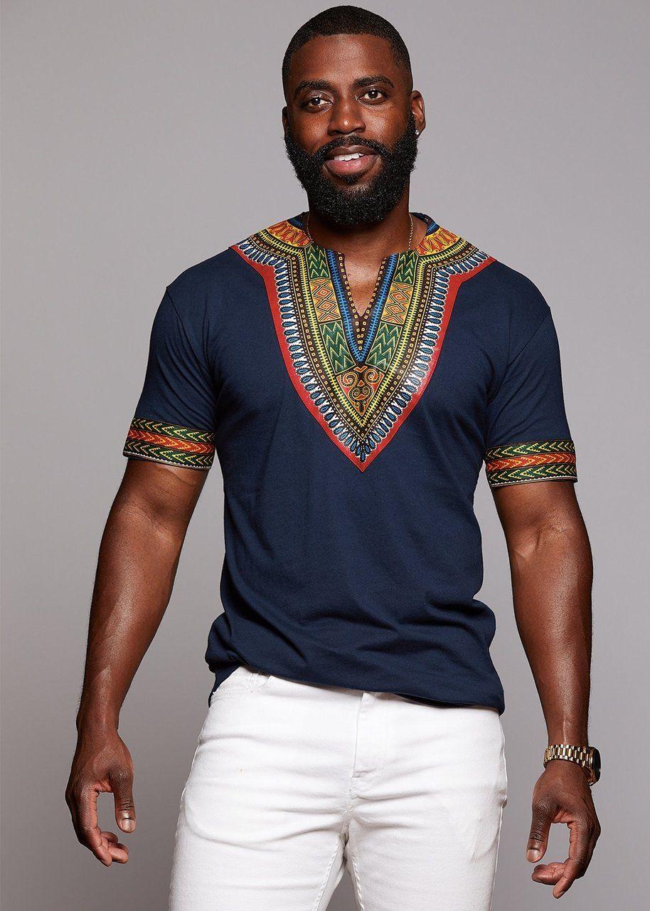 a5489896a Men's African Print Dashiki T-shirt (Navy) in 2018 | African Tee ...