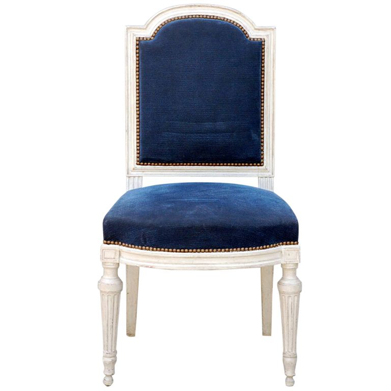 View this item and discover similar side chairs for sale at   Large Louis  XVI style blue velvet chair  Very good quality craftsmanship Large Louis XVI Style Blue Velvet Chair   Blue velvet chairs  . Louis Xvi Style Furniture For Sale. Home Design Ideas