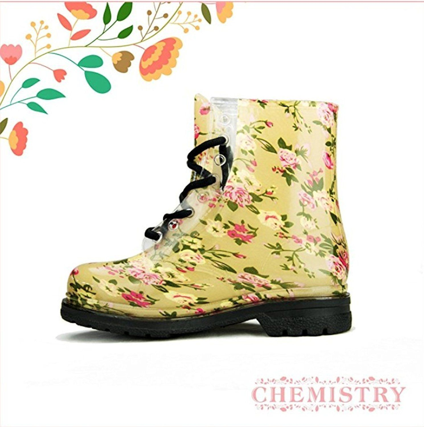 Women's Ankle Flat Floral Flower Rose Yellow Transparent Clear Jelly Martin Rain Boots