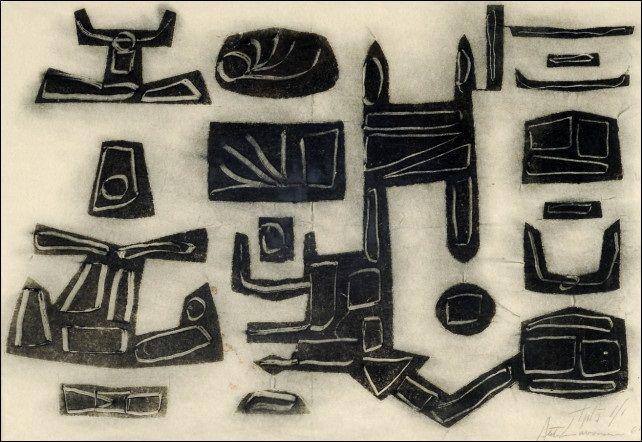 Ahti Lavonen: Vanhat merkit, 1961, puupiirros, 36,5x53 cm