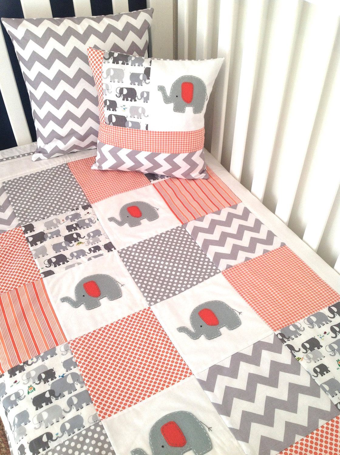 Crib pillows babies - Elephant Baby Quilts Elephant Baby Crib Quilt And Pillow In Orange And Gray