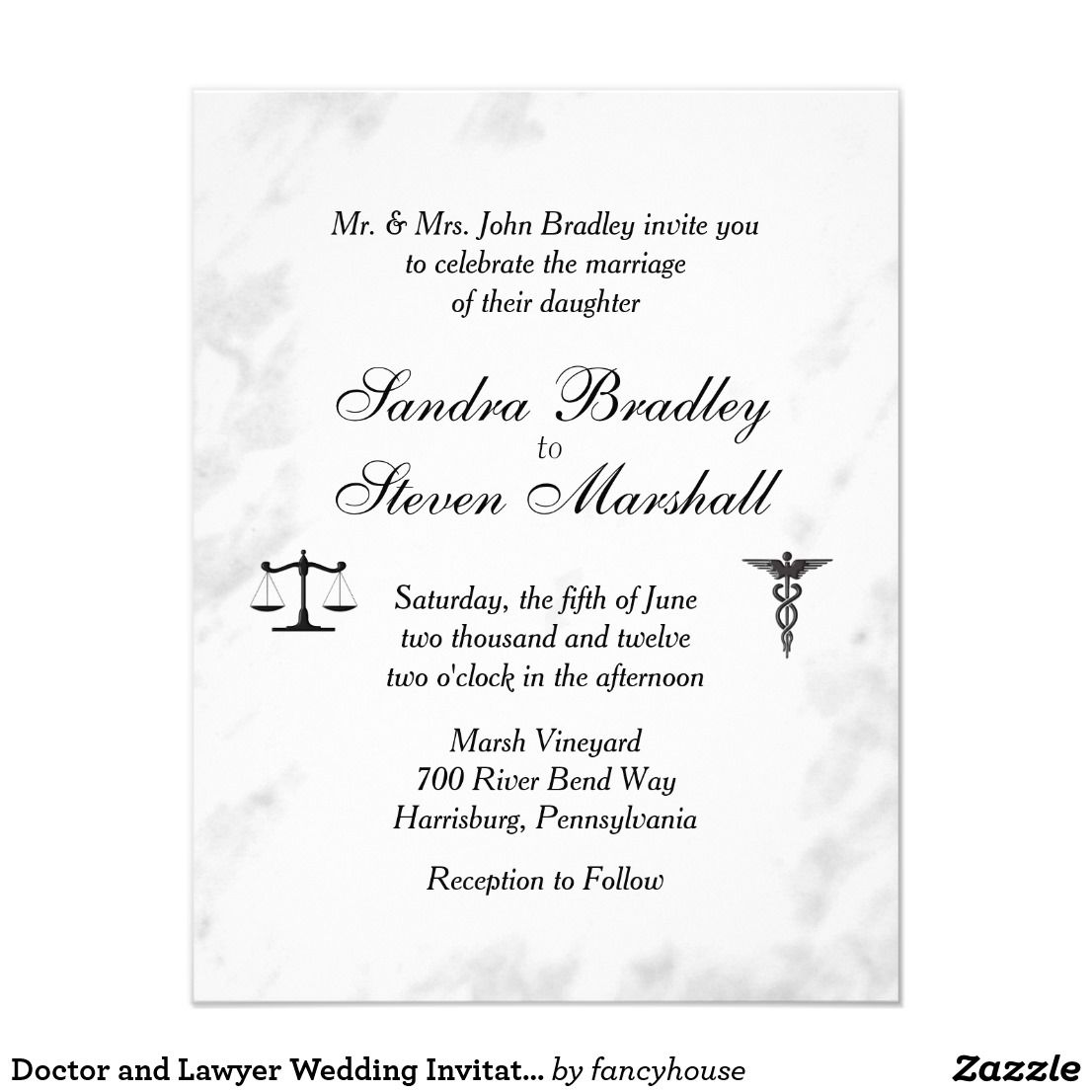 Doctor and Lawyer Wedding Invitation | Pinterest | Unique wedding ...