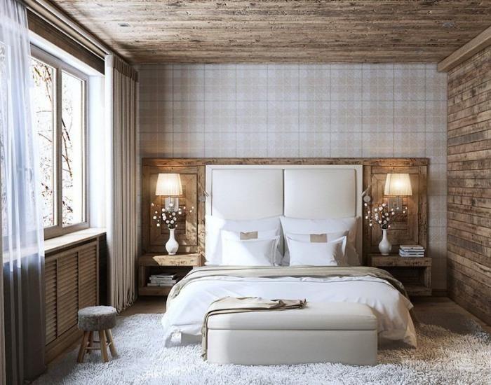 chambre parentale, chambre adulte déco bois et blanc