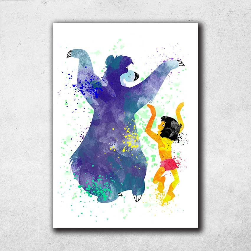 Mowgli And Baloo Jungle Book Poster Disney Watercolor Print