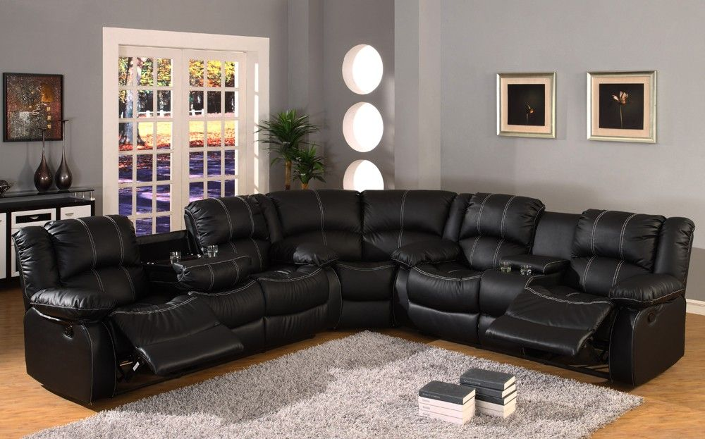 Black leather reclining sectional sofa  Babe we need to get couches like these. & Black leather reclining sectional sofa