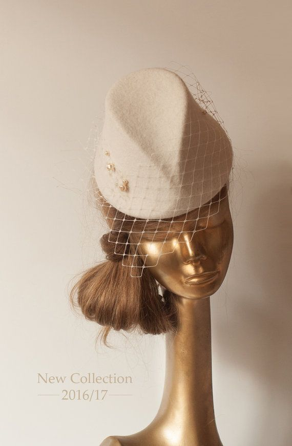 57cd5013bbb28 Unique Modern Cream FELT FASCINATOR with Veil.BRIDAL Pillbox Hat by  ancoraboutique on Etsy