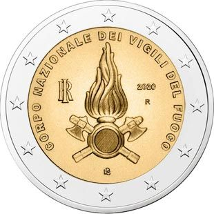 2 Euro Coin The Vigili Del Fuoco National Firefighters Corps Italy 2020 Euro Coins Coins Euro