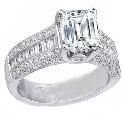 Engagement Ring - Emerald Cut Engagement Ring Three Row Baguette ...