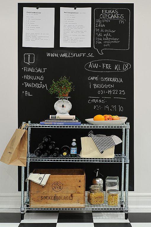 decorar una de las paredes de la cocina con pintura de pizarra ...