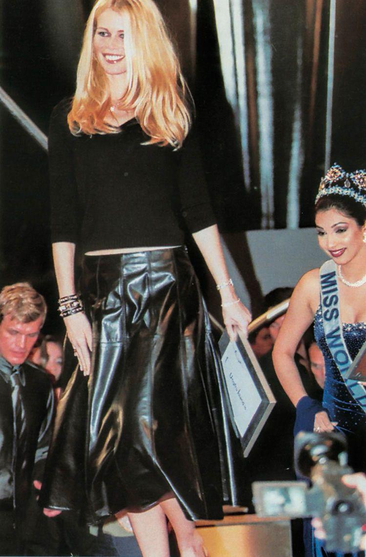 Designer Leather Fashions — 90s Claudia Schiffer