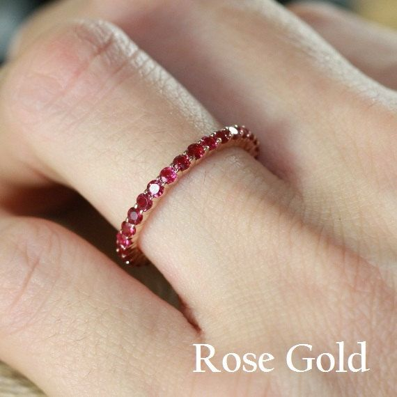 genuine ruby Gemstone stackable ring 14k Solid rose gold July birthstone zodiac micro pave half eternity band AA quality
