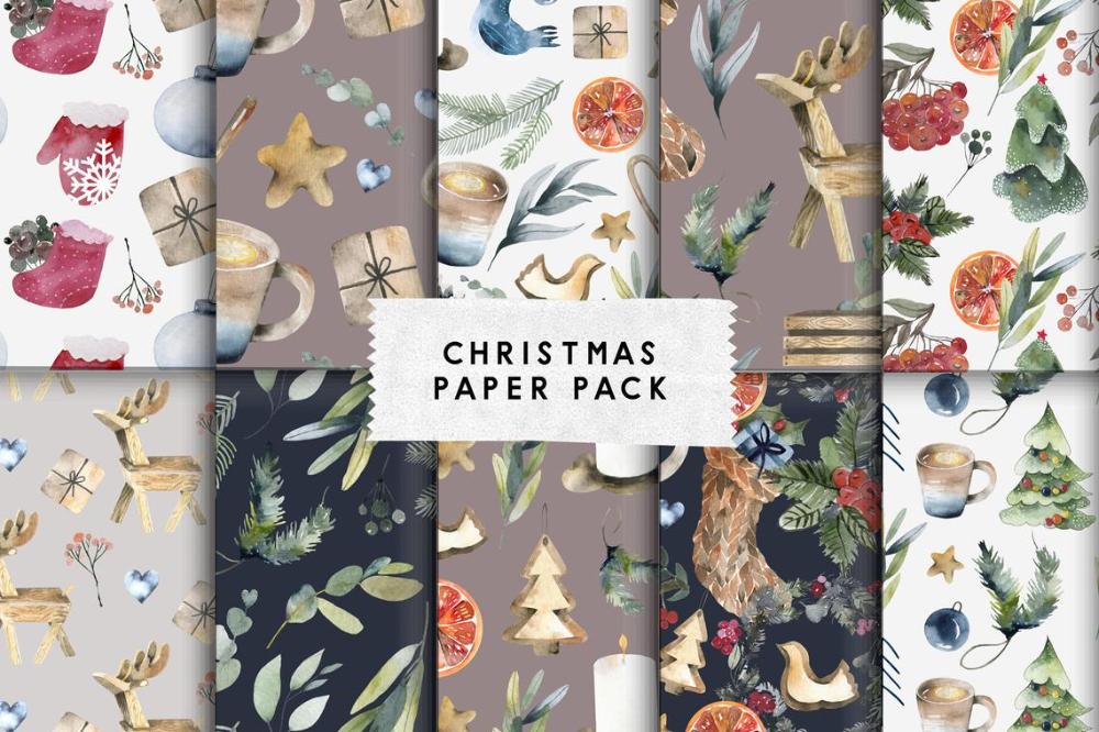 Hygge Christmas Digital Papers Pack Watercolor Christmas Cozy Etsy In 2020 Christmas Watercolor Digital Paper Christmas Paper
