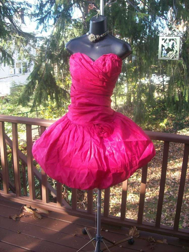 VINTAGE 80s WILD CHILD HOT PINK PROM PARTY DRESS M-L