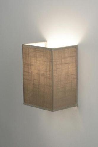 Huisdecoratie verlichting . Taupe stoffen wandlamp lampenkapje .Voor ...