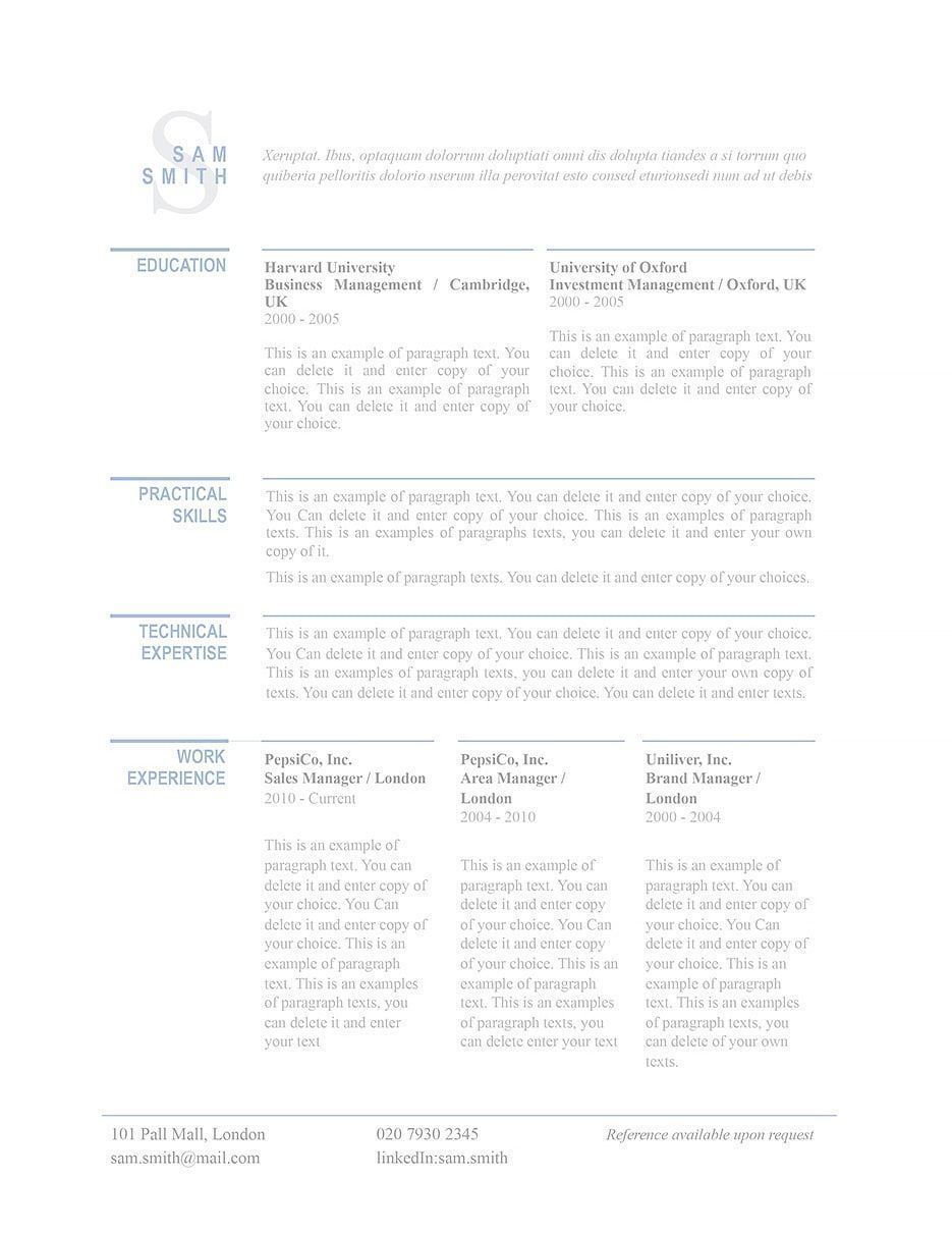 Classic resume template 110760. Choose from over 100