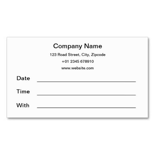 Basic Appointment Cards Zazzle Com Card Templates Printable