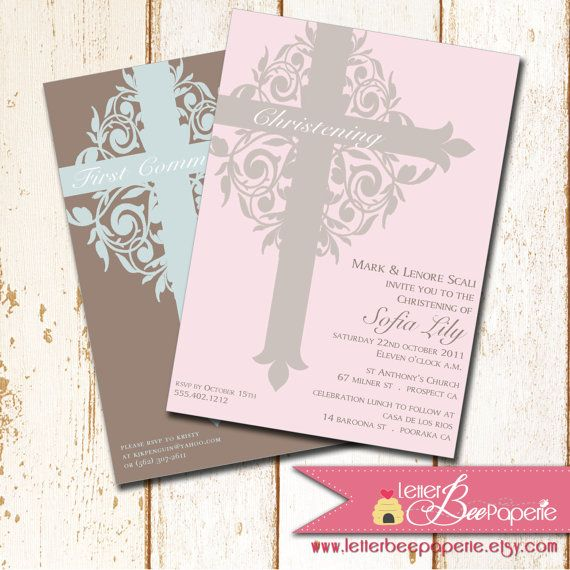 Ornate Cross Baptism   Christening Invitation - Choose Your Colors - sample baptismal invitation for twins