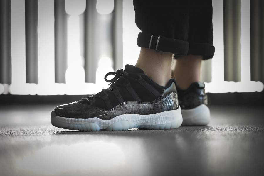 jordan shoes 11 black and white human photography image 746691