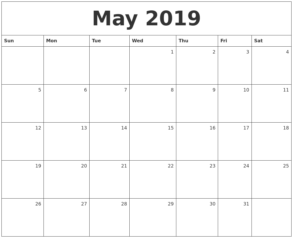 Monthly Printable Calendar May 2019 Pdf Planner Blank With Holidays May Ma Free Calendar Template Monthly Calendar Template Free Printable Calendar Templates