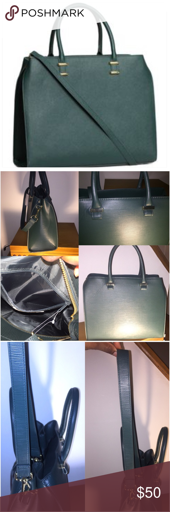 H&M Structured Dark Green Bag with Strap NWT Brand new purse that is dark green with gold hardware. Fashion forward and has an amazing textured detail look through the bag. Zipper closure with side snap buttons to contract or expand and an inside packet. Removable shoulder straps are included. Super adorable bag! I love it but already have the same in maroon, tan and black.   Awesome but! Perfect for adding a staple bag to your 2017 wardrobe. Bundle and save! ✨✨✨ H&M Bags Shoulder Bags