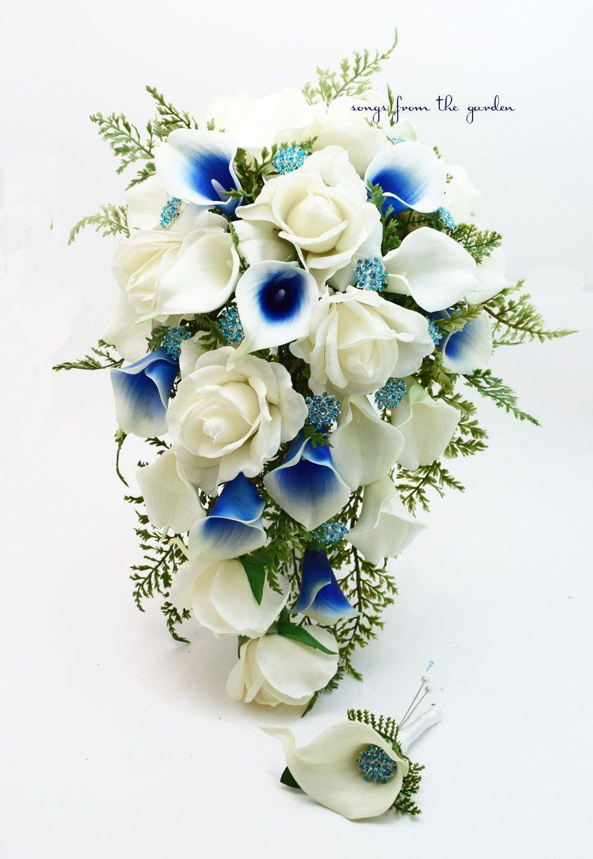 Royal Blue White Cascade Bridal Bouquet Blue Picasso Callas White