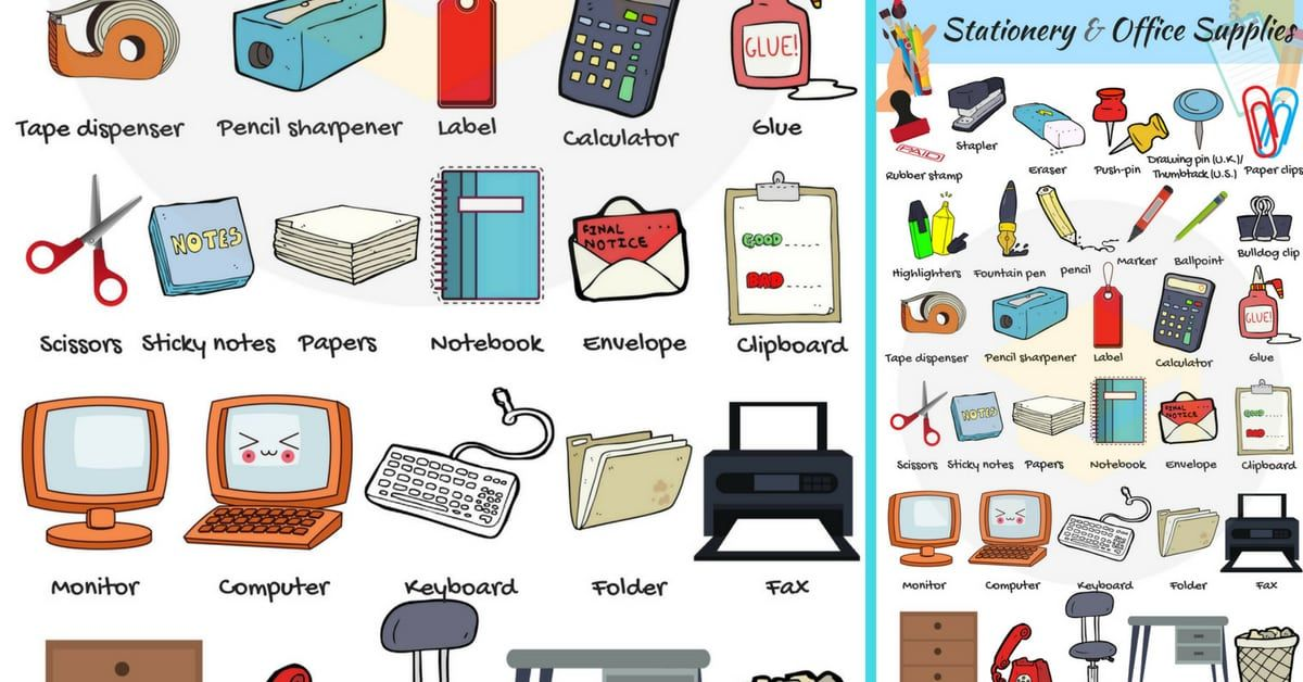 Office Supplies List Of Stationery Items With Pictures Office