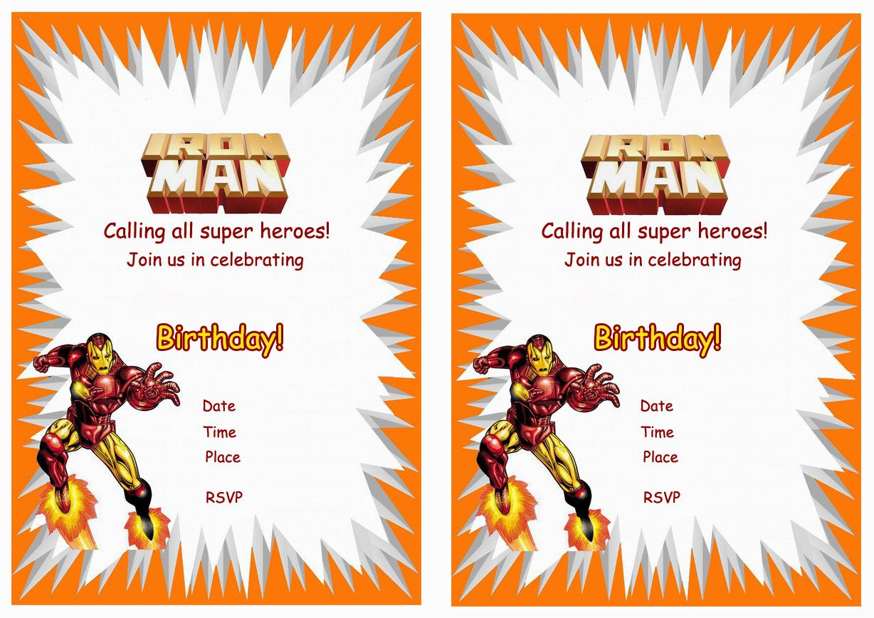 Iron Man FREE Printable Birthday Party Invitations