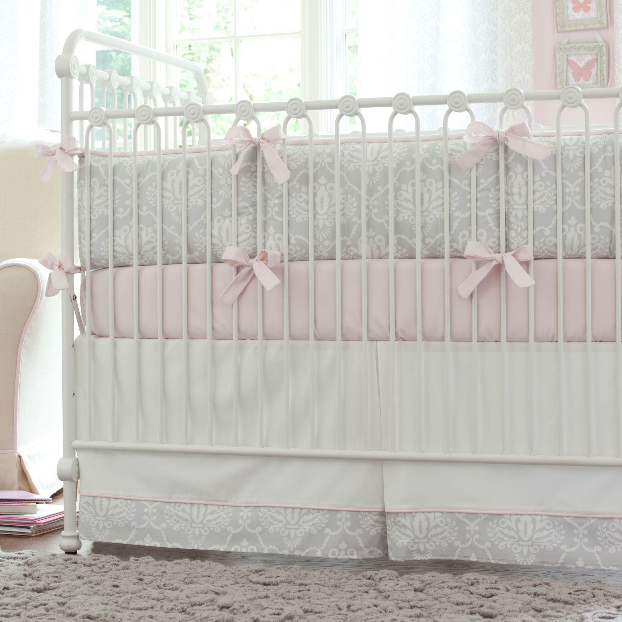 Pink And Gray Damask Crib Bedding Baby For S In Grey Carousel Designs