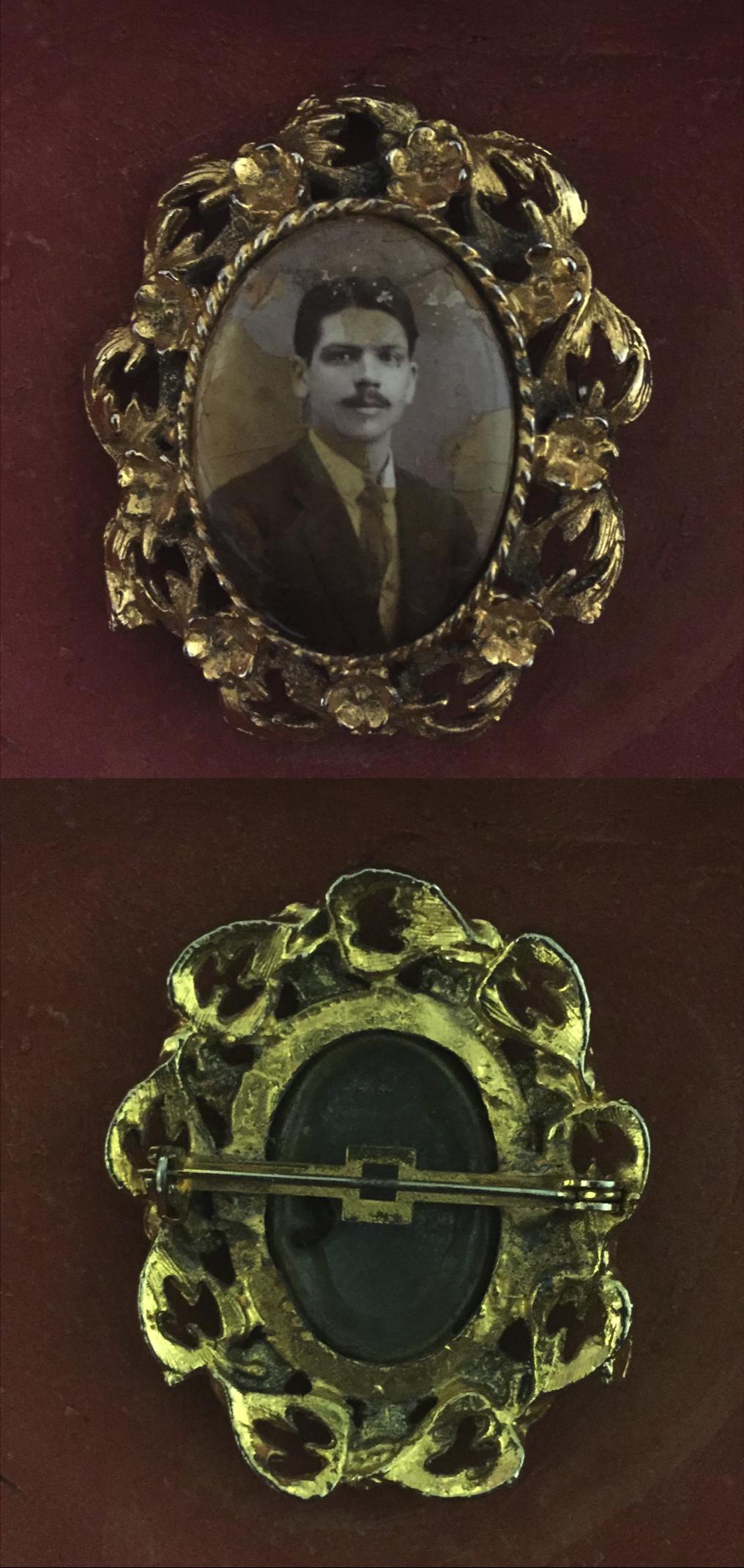 Broche con retrato blanco y negro, marco de metal Art Nouveau. Para ...