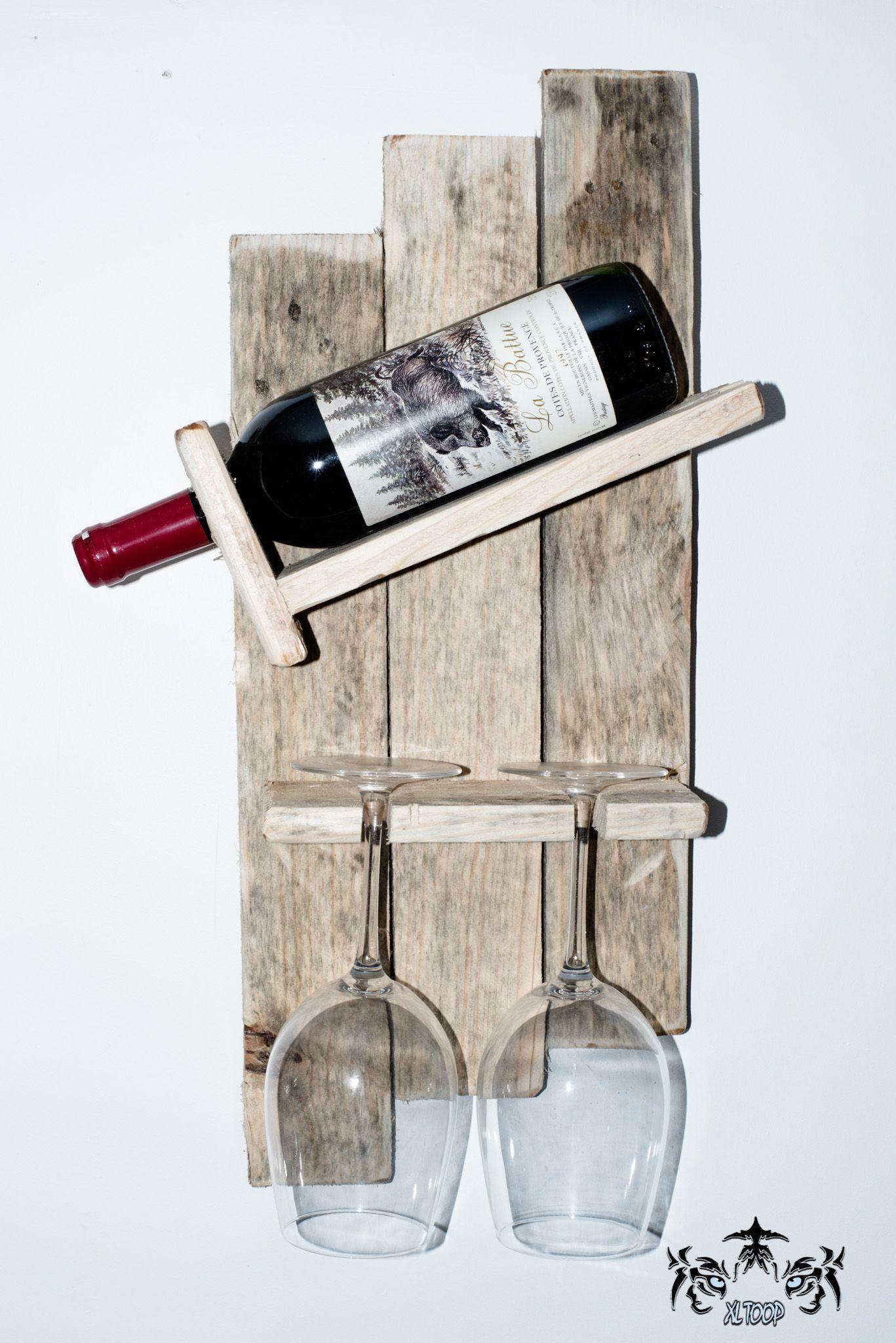 Support A Bouteille De Vin Mural Étagère murale bois rustique support bouteille de vin avec