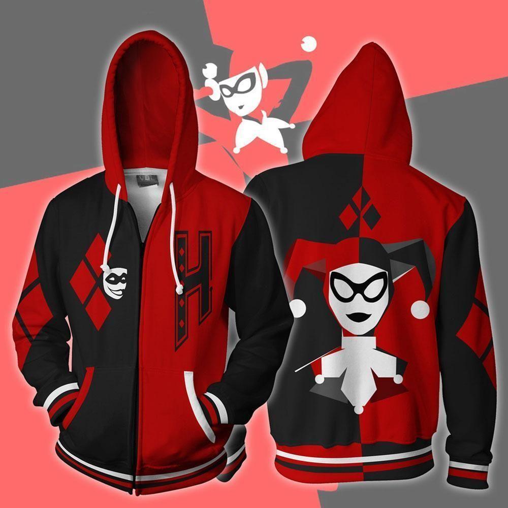 dc3d1ed0102c Harley Quinn Hoodie - Harley Quinn 3D Hoodie - Harley Quinn Zip Up Jacket