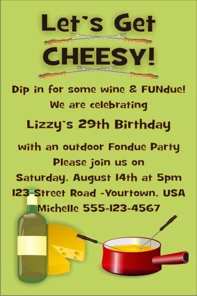 Fondue Party Invitation Click to Personalize Melting pot ideas